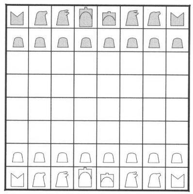 the initial array of shatranj (ancient chess)