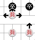 move of the pawn 'ping, tsuh' or foot soldier in xiangqi (Chinese chess)